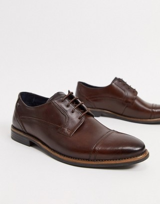 Base London Navara lace up toe cap shoes in brown leather