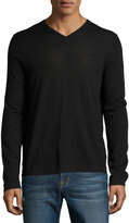 Neiman Marcus Wool V-Neck Modern-Fit Sweater, Black