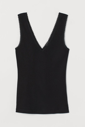 H&M Ribbed Lace-trimmed Tank Top - Black