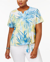 Alfred Dunner Plus Size Blue Lagoon Collection Embellished Tie-Front Blouse
