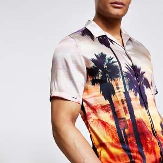 River Island Mens Orange palm print regular fit shirt