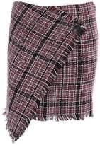 Lettre d'amour Women's Vintage Plaid Surplice Irregular Skirts With Button S