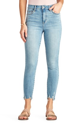 The Stiletto High Waist Chewed Hem Ankle Skinny Jeans