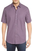 Bugatchi Classic Fit Step Check Short Sleeve Sport Shirt