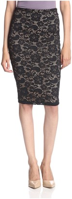 David Lerner Women's Lace Pencil Skirt