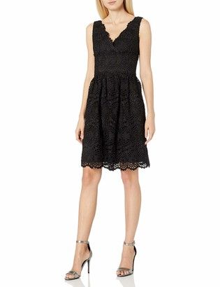 Adrianna Papell Women's V-Neck Sleeveless Fit-and-Flare Lace Dress