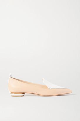 Nicholas Kirkwood Beya Two-tone Leather Point-toe Flats - Neutral