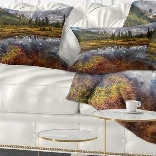 Design Art Designart 'Clear Lake Mirroring Cloudy Skies' Landscape Printed Throw Pillow