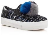 Ash Joy Rabbit Fur Pom Pom Slip On Sneakers