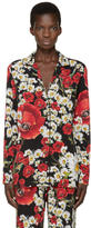 Dolce & Gabbana Red and Black Floral Pyjama Shirt