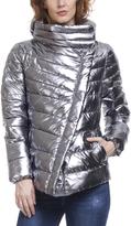 Silver Asymmetric-Zip Puffer Coat