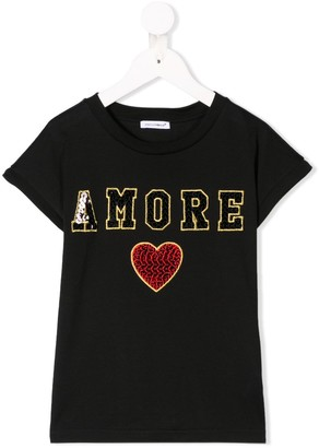Dolce & Gabbana Amore sequin embroidered T-shirt