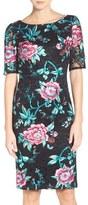 Eliza J Floral Embroidered Lace Sheath Dress (Regular & Petite)