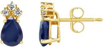 14K Yellow Gold 6x4 Pear-Shaped Gemstone & 1/8 Carat T.W. Diamond Earrings