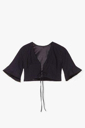 Nasty Gal Womens Don't Wait Up Tie Crop Top - Black - L