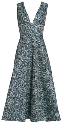 ML Monique Lhuillier Printed Jacquard Midi Dress