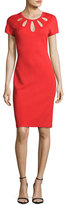 St. John Cutout-Neck Milano Knit Dress, Red