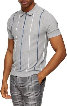 Topman Stripe Pique Zip Polo