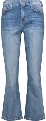 Current/elliott Kick Cropped Mid-rise Flared Jeans