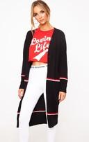 PrettyLittleThing Black Stripe Long Line Button Cardigan
