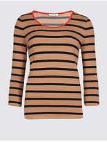 Classic Striped Contrast Neckline 3/4 Sleeve T-Shirt