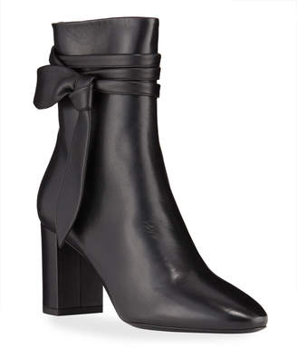 Saint Laurent Lou Leather Bow Booties