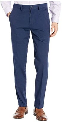 Kenneth Cole Reaction Four-Way Stretch Solid Twill Slim Fit Flat Front Chino (Navy) Men's Dress Pants