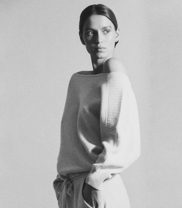 Thumbnail for your product : Reiss Amara - Off-the-shoulder Knitted Dress in Grey Marl