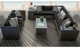 Tegan 11 Piece Rattan Sectional Seating Group with Cushions Sol 72 Outdoor Cushion Color: Black
