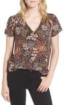 Hinge Women's Floral V-Neck Top