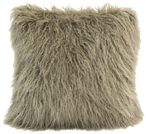 """HiEnd Accents 18""""x18"""" Mongolian Faux Fur Pillow"""