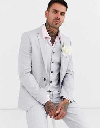 ASOS DESIGN wedding slim suit jacket in windowpane check in ice gray