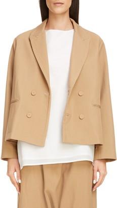 Sara Lanzi Boxy Double Breasted Wool Blend Twill Crop Jacket