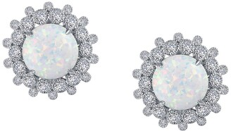 Lafonn Platinum Plated Sterling Silver Round Art Deco Simulated Opal Earrings