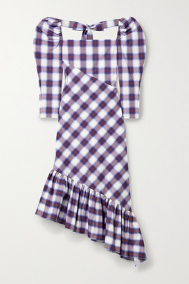 pushBUTTON Asymmetric Ruffled Checked Cotton-poplin Midi Dress - Purple