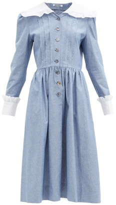 Batsheva Diana Sailor-collar Cotton-chambray Dress - Blue