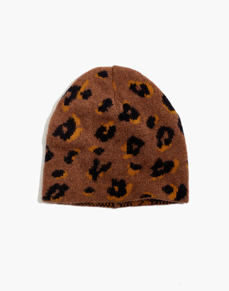 Madewell Merino Ribbed Beanie in Painted Leopard