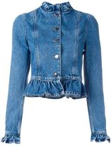J.W.Anderson ruffled denim jacket - women - Cotton - 8