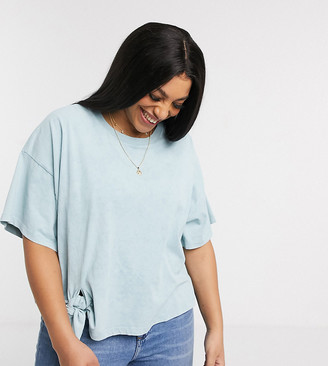 ASOS DESIGN Curve t-shirt with knot detail in wash