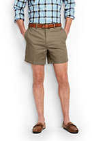 "Lands' End Men's No Iron 6"" Plain Front Comfort Waist Chino Shorts-Light Stone"