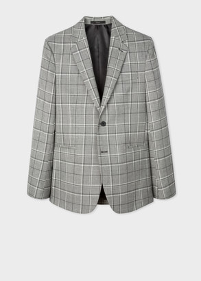 Paul Smith Men's Tailored-Fit Grey Prince Of Wales Check Wool-Blend Blazer