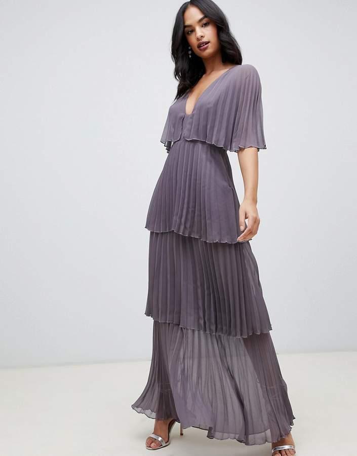 Asos Design DESIGN soft pleated tiered maxi dress