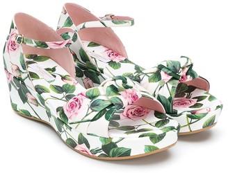 Dolce & Gabbana Kids TEEN rose print platform sandals
