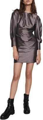 Maje Ralery Metallic Stripe Long Sleeve Minidress