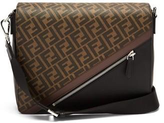 Fendi Asymmetric Ff-monogram Leather Cross-body Bag - Black
