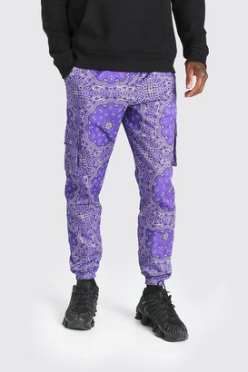boohoo Mens Purple Official MAN Twill Belted Bandana Cargo Trouser, Purple