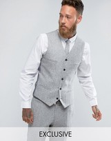 Noak Skinny Waistcoat In Fleck Donegal
