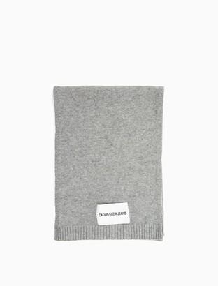 Calvin Klein Wool Cashmere Logo Patch Scarf