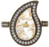 Freida Rothman 14K Gold & Rhodium Plated Sterling Silver CZ Paisley Radiance Ring - Size 9