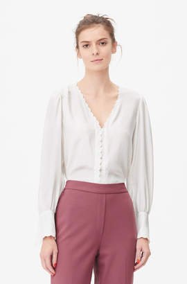 Rebecca Taylor Tailored Embroidered Silk Charmeuse Top